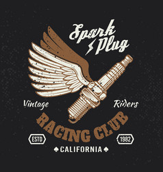 spark plug with wings vintage motorcycle emblem vector image
