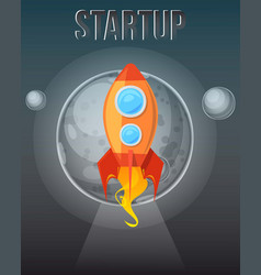 startup concept cosmos with rockets banner vector image