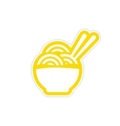 Sticker Asian dish of noodles and chopsticks vector