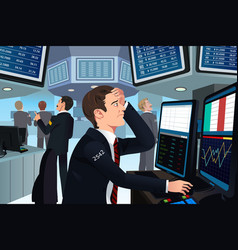 stock trader in stress vector image