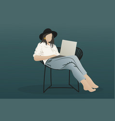Stylish hipster girl using laptop and sitting on vector