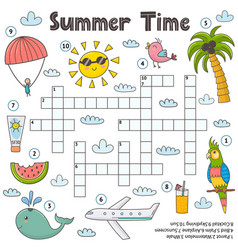 summer time crossword game for kids funny vector image