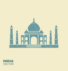 taj mahal silhouette flat icon with scuffing vector image