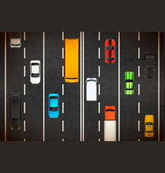 top view traffic jam with lots realistic vector image