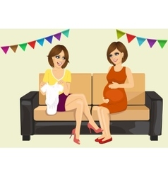 Two beautiful women on a baby shower party vector