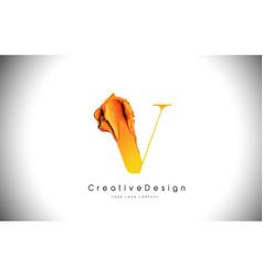 v orange letter design brush paint stroke gold vector image