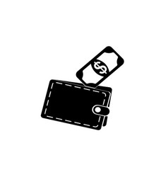 wallet with money icon vector image