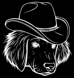 white silhouette gangster dog with fedora hat vector image