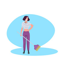 Woman housewife cleaning floor smiling girl vector