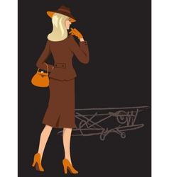 Woman on airfield vector