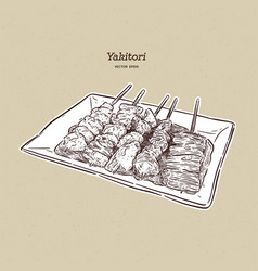 Yakitori skewers a hand drawn japanese food vector