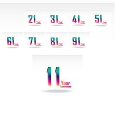 Year anniversary set elegant template design vector