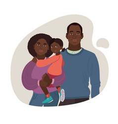 Young african-american family mom dad girl vector