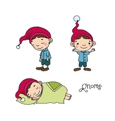 A set of cute little gnomes vector image vector image