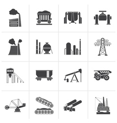 Black Heavy industry icons vector image vector image