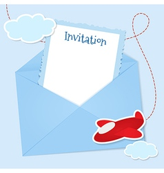 Blue invitation card with clouds and airplane vector