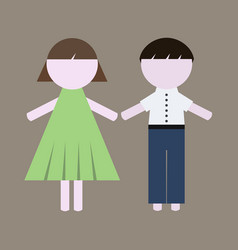 colorful girl and boy icons vector image vector image