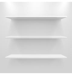Empty white shelves vector image vector image