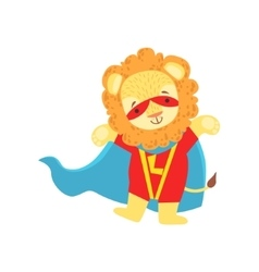 Lion Animal Dressed As Superhero With A Cape Comic vector image