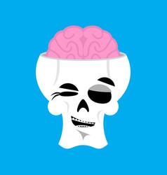 skull and brain winks emoji skeleton head happy vector image vector image
