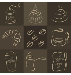Morning breakfast Set of coffee logos vector image