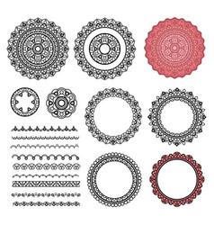 set elements from round mandala frames brushes vector image