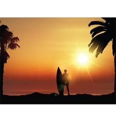 Surfer in tropical landscape vector image