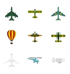 Army planes icons set flat style vector
