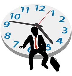 Business man wait appointment time clock vector image