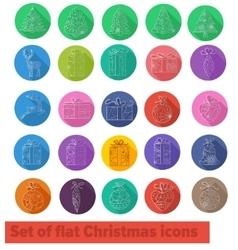 Flat icons christmas set vector image vector image