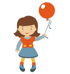 Little girl with ballons vector image vector image