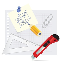 Set school supplies on the white background vector image vector image