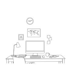 sketch modern office interior vector image vector image