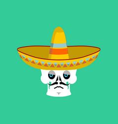 skull in sombrero sad emoji mexican skeleton for vector image
