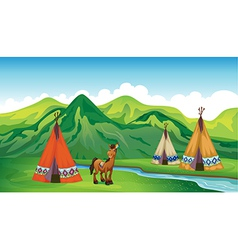 Tents and a smiling horse vector image vector image