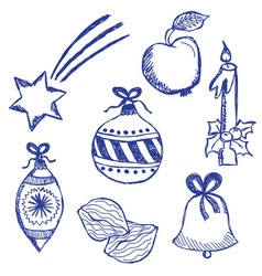 Christmas symbols doodles set vector image