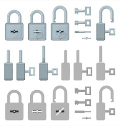 Locked or unlocked padlocks for web transaction vector image vector image