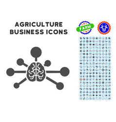 mind control links icon with agriculture set vector image