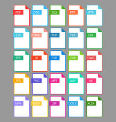 set file format icon vector image vector image