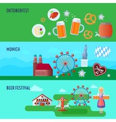 Set of flat horizontal German Oktoberfest beer vector image vector image