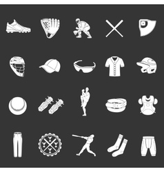 Set of icons of baseball on a dark background vector image