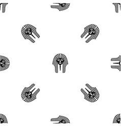 tutankhamen mask pattern seamless black vector image vector image