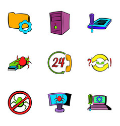 virus danger icons set cartoon style vector image