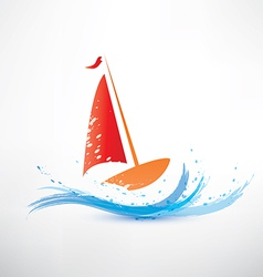 yacht and ocean wave symbol vector image vector image