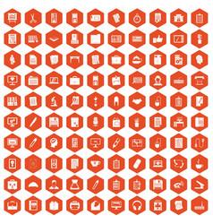 100 office icons hexagon orange vector