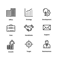 9 business line icons vector image