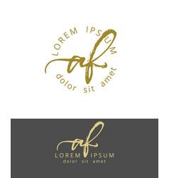 A f initials monogram logo design dry brush vector