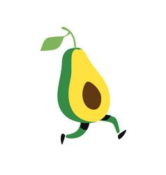 a running avocado icon tasty green fruit flat vector image