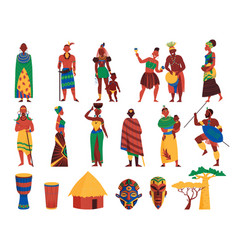 african culture icons collection vector image