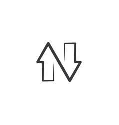 arrows letter n black icon logo element vector image